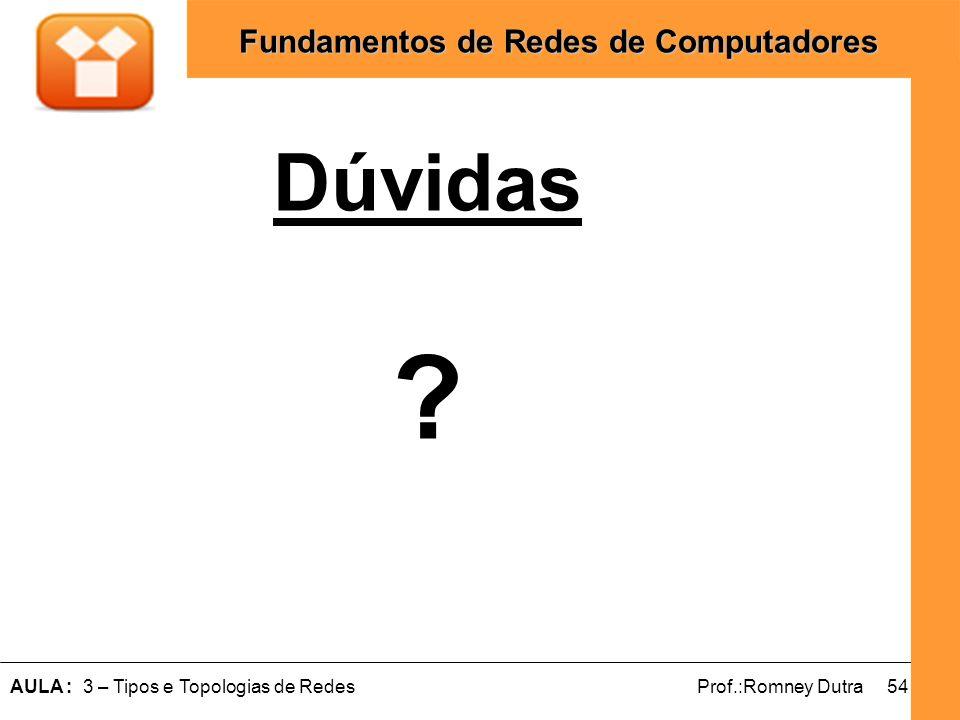 54AULA : 3 – Tipos e Topologias de RedesProf.:Romney Dutra Fundamentos de Redes de Computadores Dúvidas ?