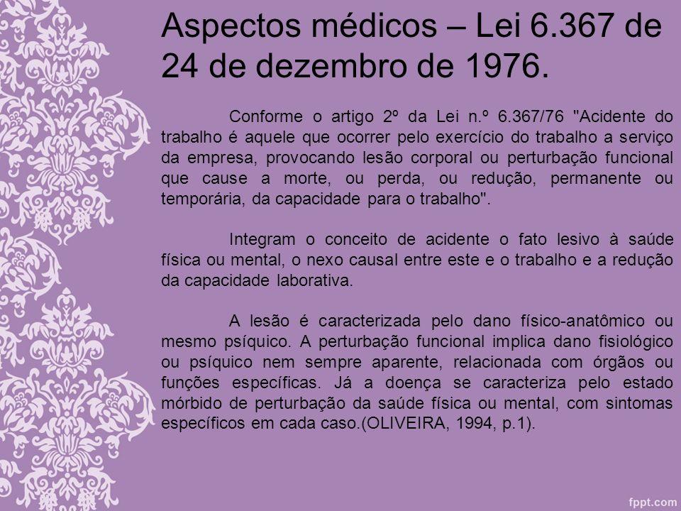 Aspectos médicos – Lei 6.367 de 24 de dezembro de 1976. Conforme o artigo 2º da Lei n.º 6.367/76