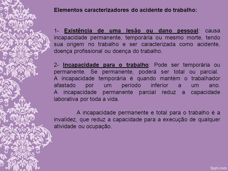 Elementos caracterizadores do acidente do trabalho: 1- Existência de uma lesão ou dano pessoal: causa incapacidade permanente, temporária ou mesmo mor