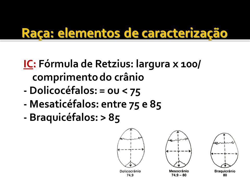 IC: IC: Fórmula de Retzius: largura x 100/ comprimento do crânio - Dolicocéfalos: = ou < 75 - Mesaticéfalos: entre 75 e 85 - Braquicéfalos: > 85