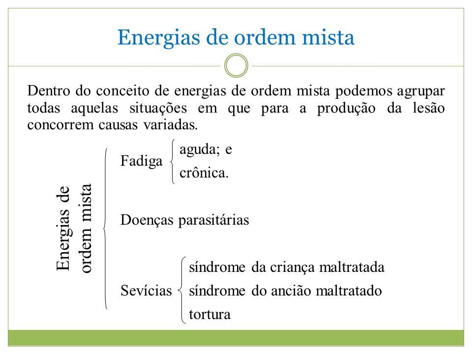 Energias de ordem mista Fadiga aguda; e crônica. Doenças parasitárias síndrome da criança maltratada Sevíciassíndrome do ancião maltratado tortura Ene