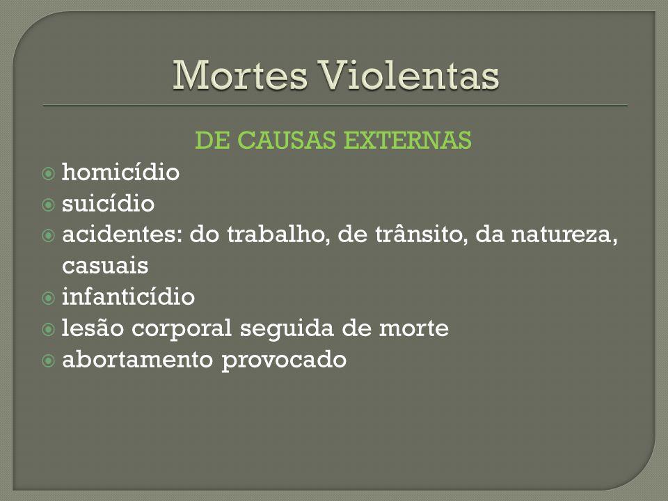 DE CAUSAS EXTERNAS homicídio suicídio acidentes: do trabalho, de trânsito, da natureza, casuais infanticídio lesão corporal seguida de morte abortamen
