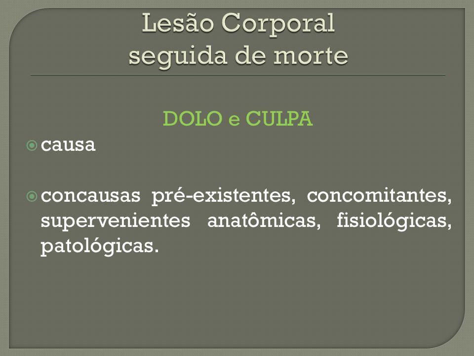 DOLO e CULPA causa concausas pré-existentes, concomitantes, supervenientes anatômicas, fisiológicas, patológicas.