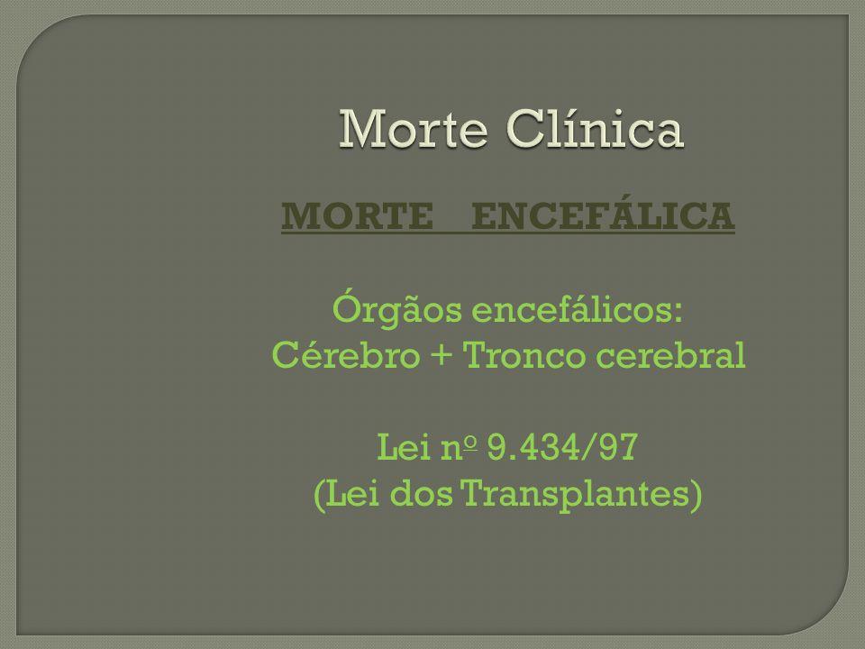 Morte Clínica MORTE ENCEFÁLICA Órgãos encefálicos: Cérebro + Tronco cerebral Lei n o 9.434/97 (Lei dos Transplantes)