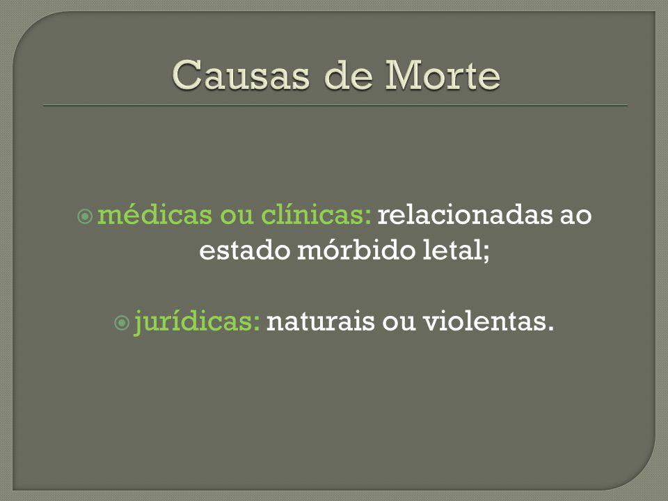 médicas ou clínicas: relacionadas ao estado mórbido letal; jurídicas: naturais ou violentas.