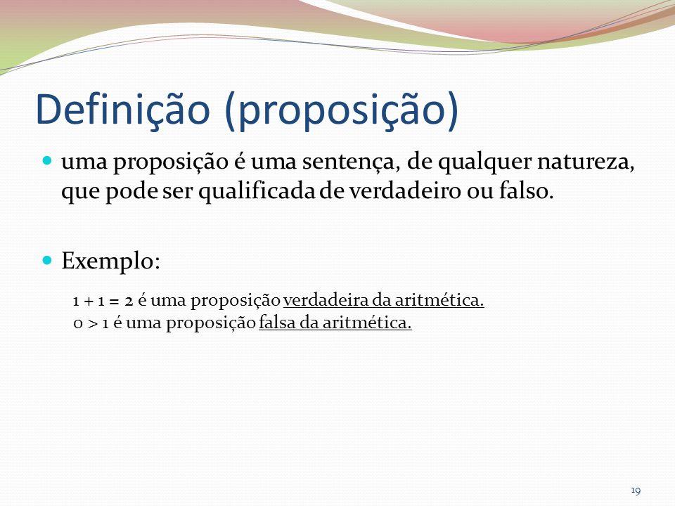 Definição (proposição) uma proposição é uma sentença, de qualquer natureza, que pode ser qualificada de verdadeiro ou falso. Exemplo: 1 + 1 = 2 é uma