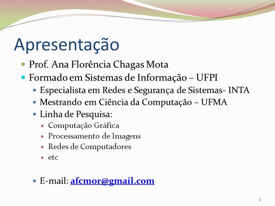 Apresentação Prof. Ana Florência Chagas Mota Formado em Sistemas de Informação – UFPI Especialista em Redes e Segurança de Sistemas- INTA Mestrando em