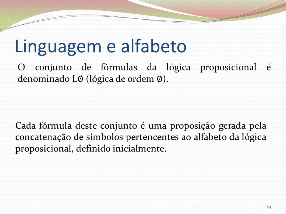 Linguagem e alfabeto O conjunto de fórmulas da lógica proposicional é denominado L (lógica de ordem ). Cada fórmula deste conjunto é uma proposição ge