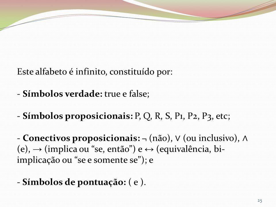 Este alfabeto é infinito, constituído por: - Símbolos verdade: true e false; - Símbolos proposicionais: P, Q, R, S, P1, P2, P3, etc; - Conectivos prop