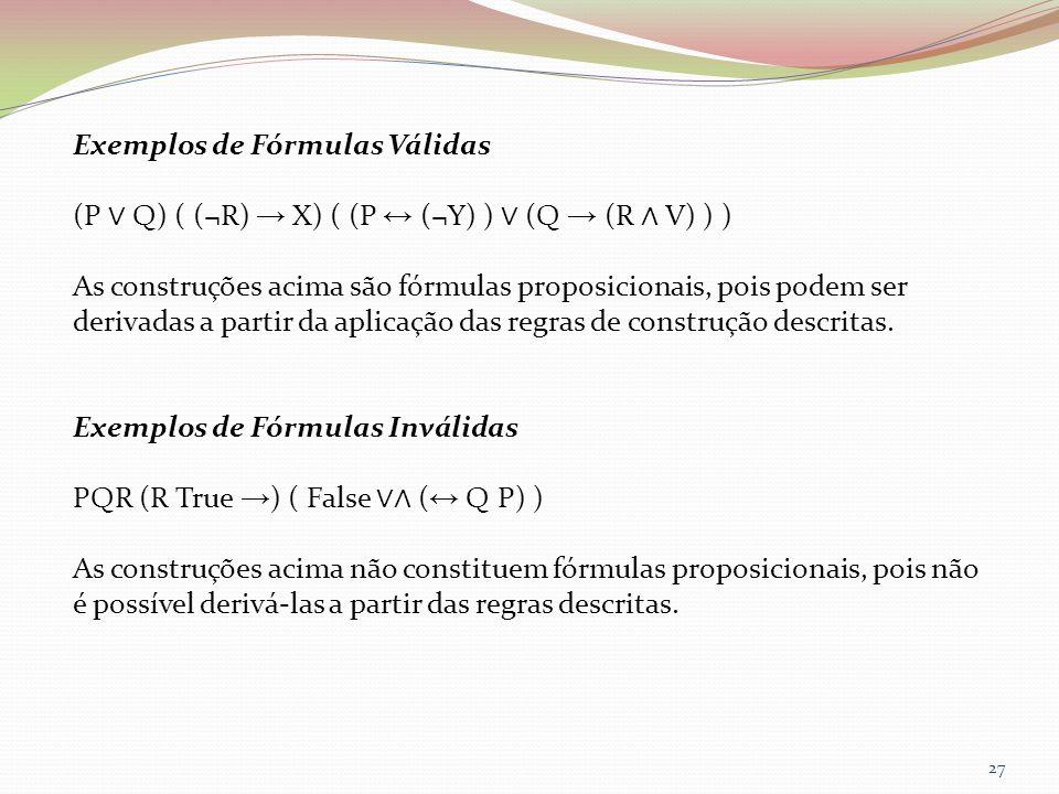 Exemplos de Fórmulas Válidas (P Q) ( (¬R) X) ( (P (¬Y) ) (Q (R V) ) ) As construções acima são fórmulas proposicionais, pois podem ser derivadas a par