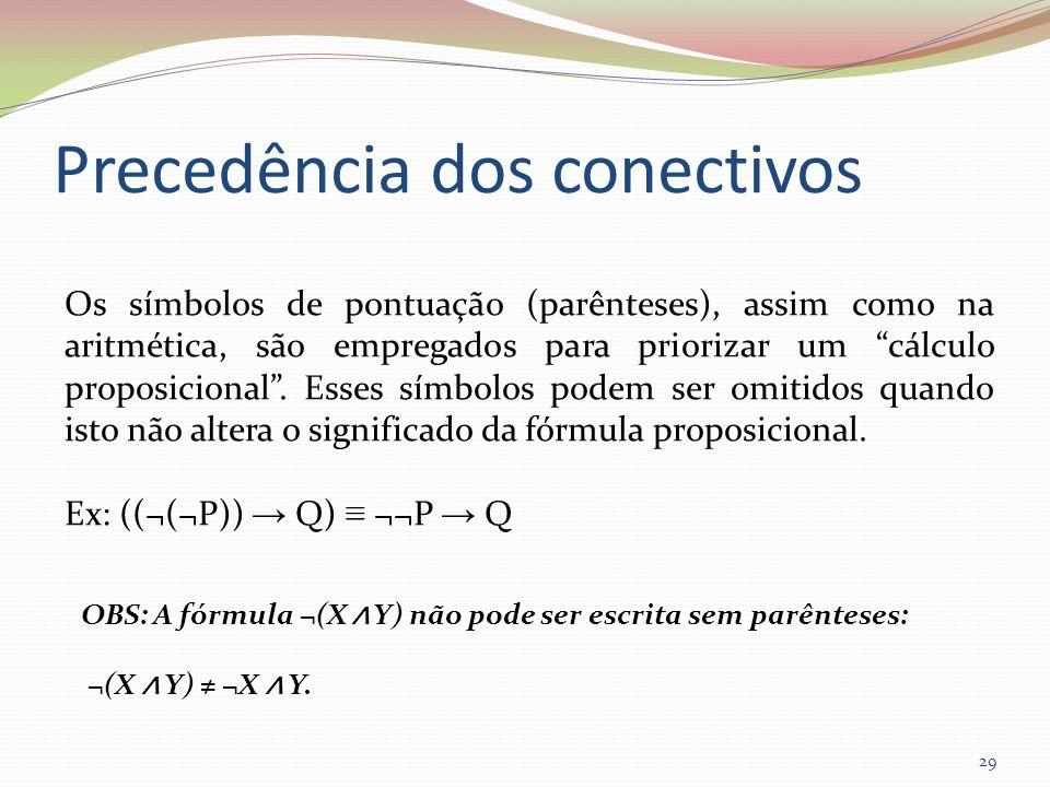 Precedência dos conectivos Os símbolos de pontuação (parênteses), assim como na aritmética, são empregados para priorizar um cálculo proposicional. Es