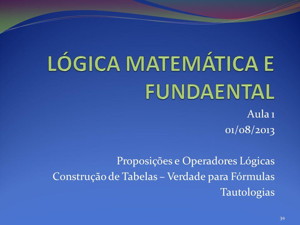 Aula 1 01/08/2013 Proposições e Operadores Lógicas Construção de Tabelas – Verdade para Fórmulas Tautologias 34