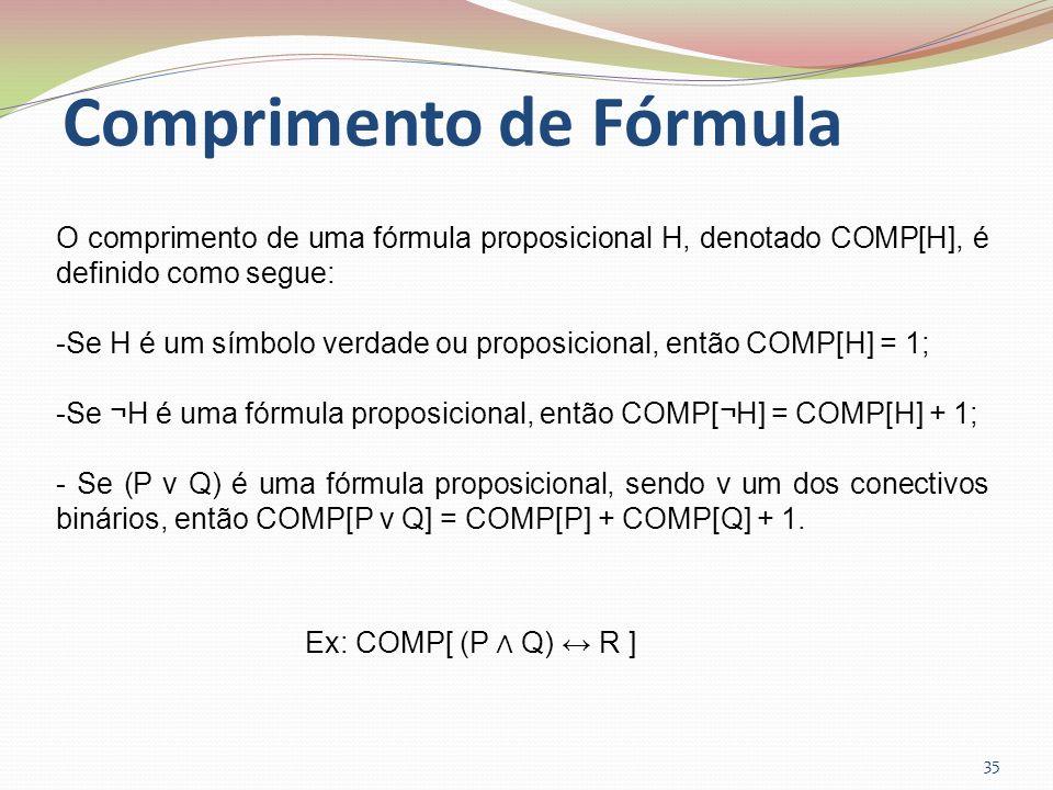 Comprimento de Fórmula 35 O comprimento de uma fórmula proposicional H, denotado COMP[H], é definido como segue: -Se H é um símbolo verdade ou proposi