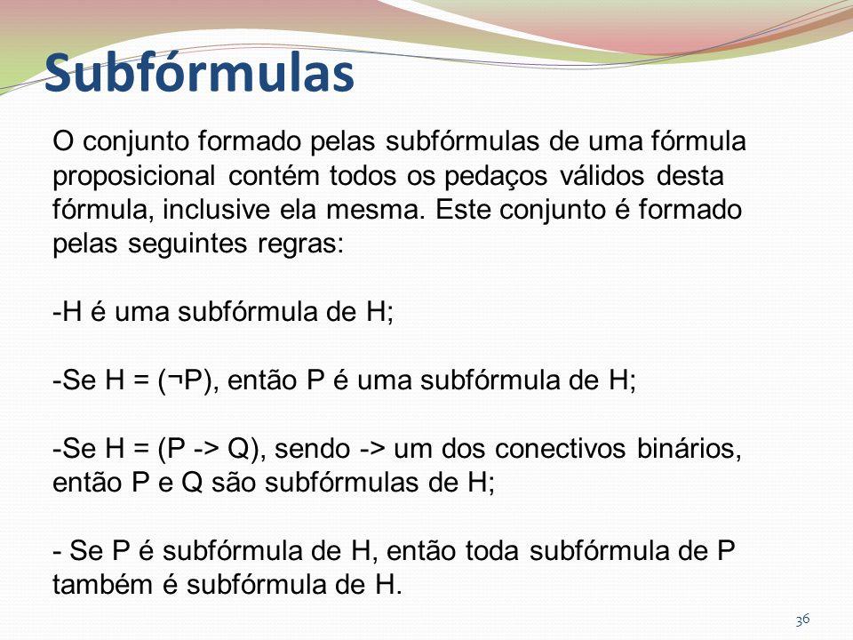 Subfórmulas 36 O conjunto formado pelas subfórmulas de uma fórmula proposicional contém todos os pedaços válidos desta fórmula, inclusive ela mesma. E