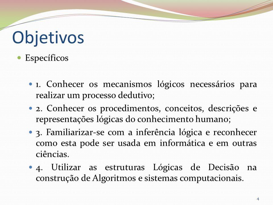 Objetivos Específicos 1. Conhecer os mecanismos lógicos necessários para realizar um processo dedutivo; 2. Conhecer os procedimentos, conceitos, descr