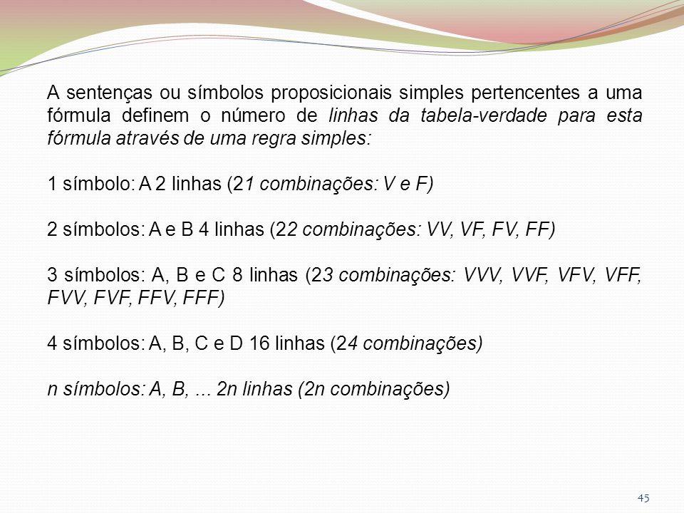 45 A sentenças ou símbolos proposicionais simples pertencentes a uma fórmula definem o número de linhas da tabela-verdade para esta fórmula através de