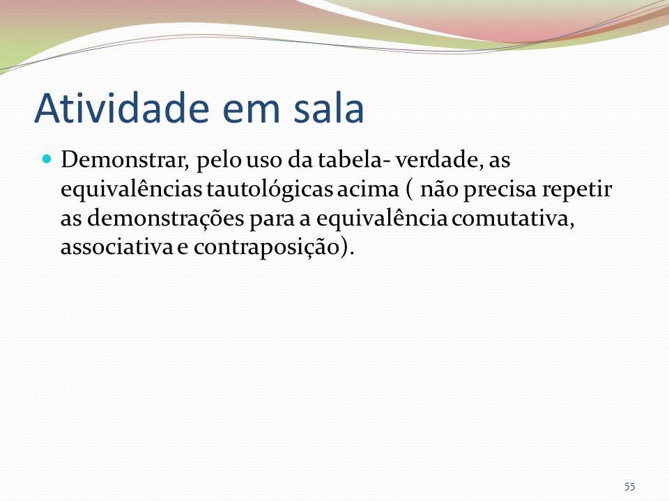 Atividade em sala Demonstrar, pelo uso da tabela- verdade, as equivalências tautológicas acima ( não precisa repetir as demonstrações para a equivalên