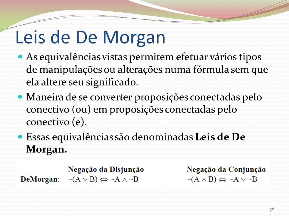 Leis de De Morgan As equivalências vistas permitem efetuar vários tipos de manipulações ou alterações numa fórmula sem que ela altere seu significado.