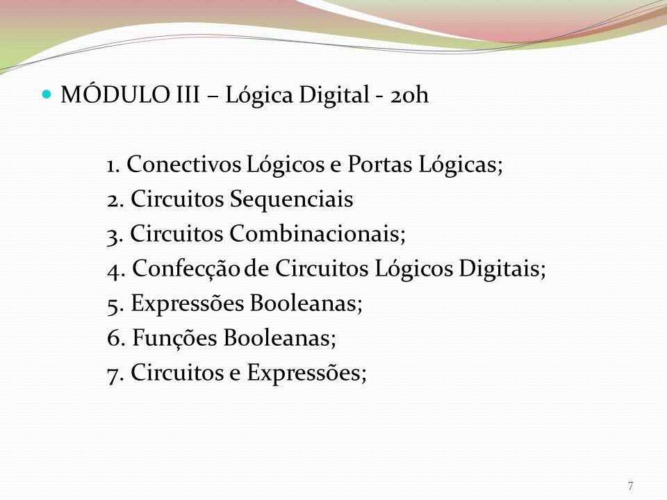 MÓDULO III – Lógica Digital - 20h 1. Conectivos Lógicos e Portas Lógicas; 2. Circuitos Sequenciais 3. Circuitos Combinacionais; 4. Confecção de Circui