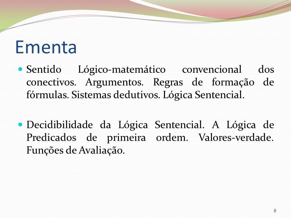 Ementa Sentido Lógico-matemático convencional dos conectivos. Argumentos. Regras de formação de fórmulas. Sistemas dedutivos. Lógica Sentencial. Decid