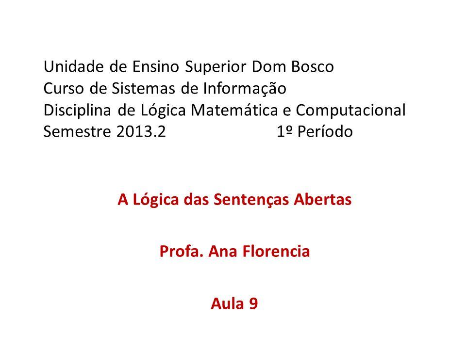 Unidade de Ensino Superior Dom Bosco Curso de Sistemas de Informação Disciplina de Lógica Matemática e Computacional Semestre 2013.21º Período A Lógic