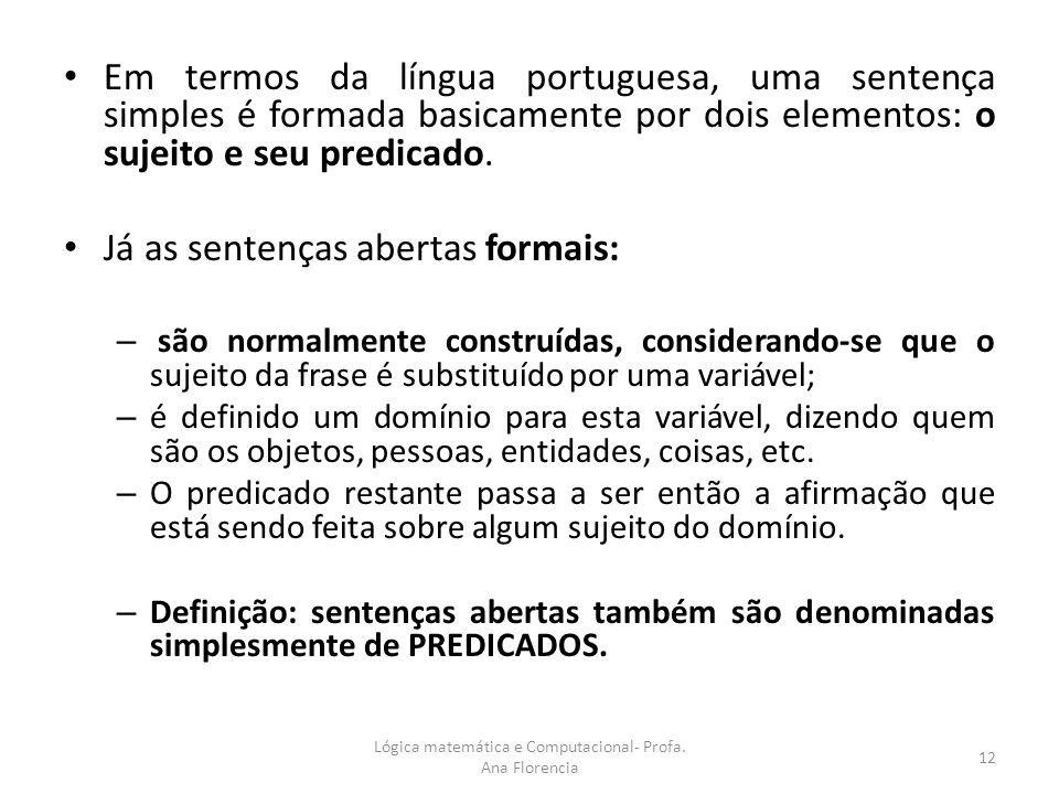 Em termos da língua portuguesa, uma sentença simples é formada basicamente por dois elementos: o sujeito e seu predicado. Já as sentenças abertas form