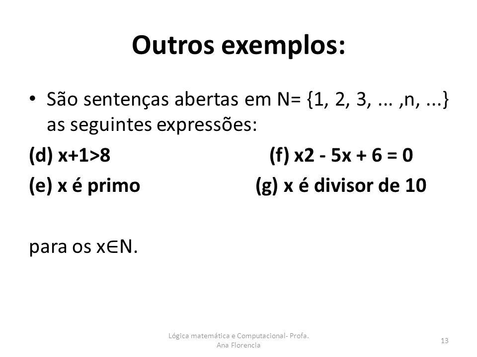 Outros exemplos: São sentenças abertas em N= {1, 2, 3,...,n,...} as seguintes expressões: (d) x+1>8 (f) x2 - 5x + 6 = 0 (e) x é primo (g) x é divisor