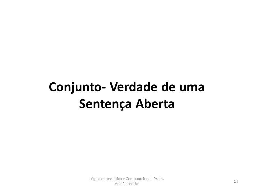 Conjunto- Verdade de uma Sentença Aberta 14 Lógica matemática e Computacional- Profa. Ana Florencia