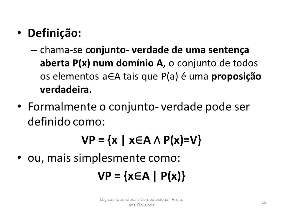 Definição: – chama-se conjunto- verdade de uma sentença aberta P(x) num domínio A, o conjunto de todos os elementos a A tais que P(a) é uma proposição