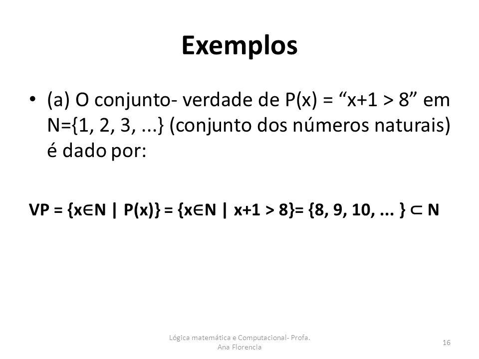 Exemplos (a) O conjunto- verdade de P(x) = x+1 > 8 em N={1, 2, 3,...} (conjunto dos números naturais) é dado por: VP = {x N | P(x)} = {x N | x+1 > 8}=