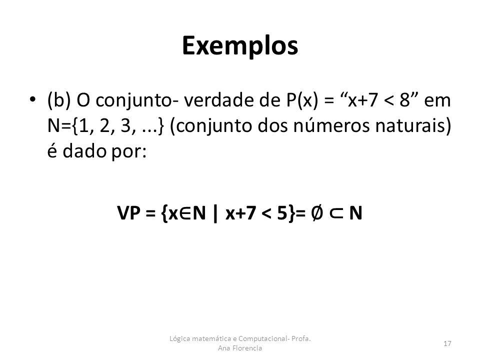 Exemplos (b) O conjunto- verdade de P(x) = x+7 < 8 em N={1, 2, 3,...} (conjunto dos números naturais) é dado por: VP = {x N | x+7 < 5}= N 17 Lógica ma