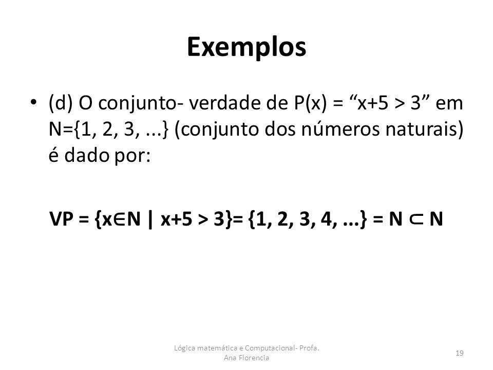 Exemplos (d) O conjunto- verdade de P(x) = x+5 > 3 em N={1, 2, 3,...} (conjunto dos números naturais) é dado por: VP = {x N | x+5 > 3}= {1, 2, 3, 4,..