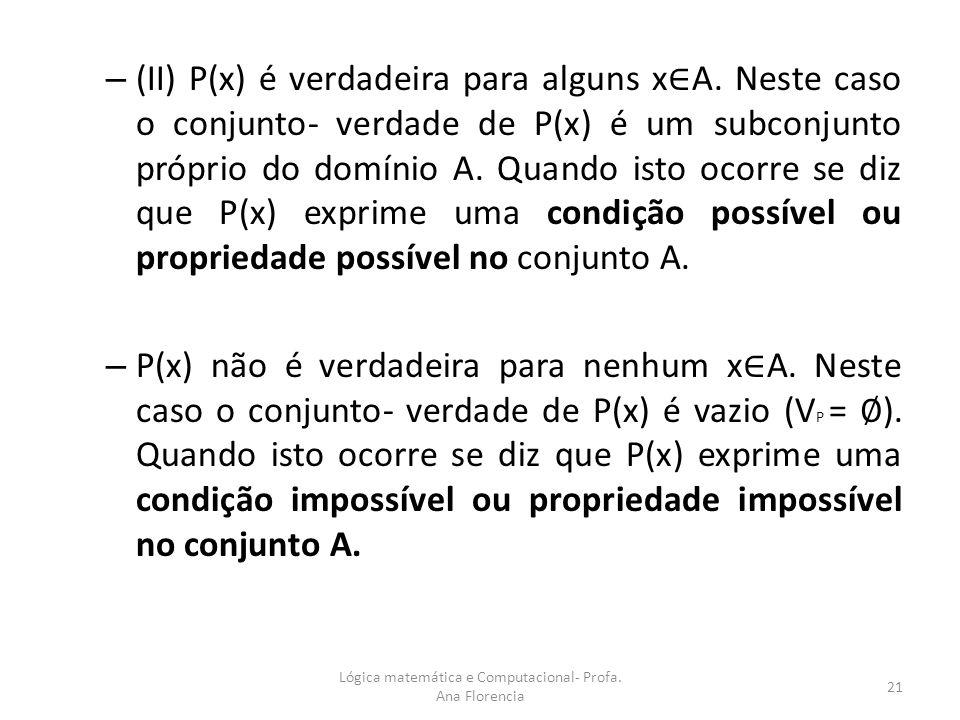 – (II) P(x) é verdadeira para alguns x A. Neste caso o conjunto- verdade de P(x) é um subconjunto próprio do domínio A. Quando isto ocorre se diz que