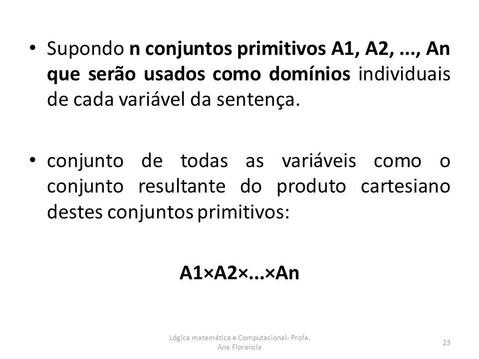 Supondo n conjuntos primitivos A1, A2,..., An que serão usados como domínios individuais de cada variável da sentença. conjunto de todas as variáveis