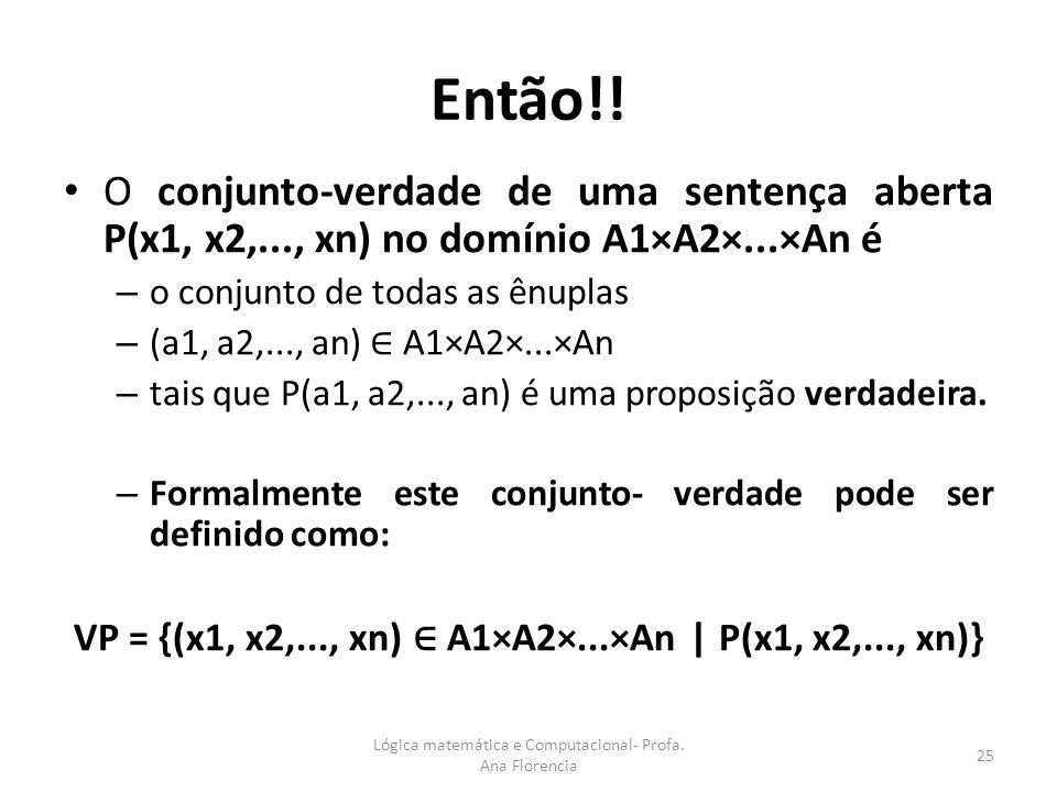 Então!! O conjunto-verdade de uma sentença aberta P(x1, x2,..., xn) no domínio A1×A2×...×An é – o conjunto de todas as ênuplas – (a1, a2,..., an) A1×A