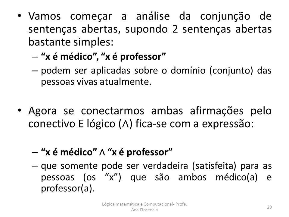 Vamos começar a análise da conjunção de sentenças abertas, supondo 2 sentenças abertas bastante simples: – x é médico, x é professor – podem ser aplic