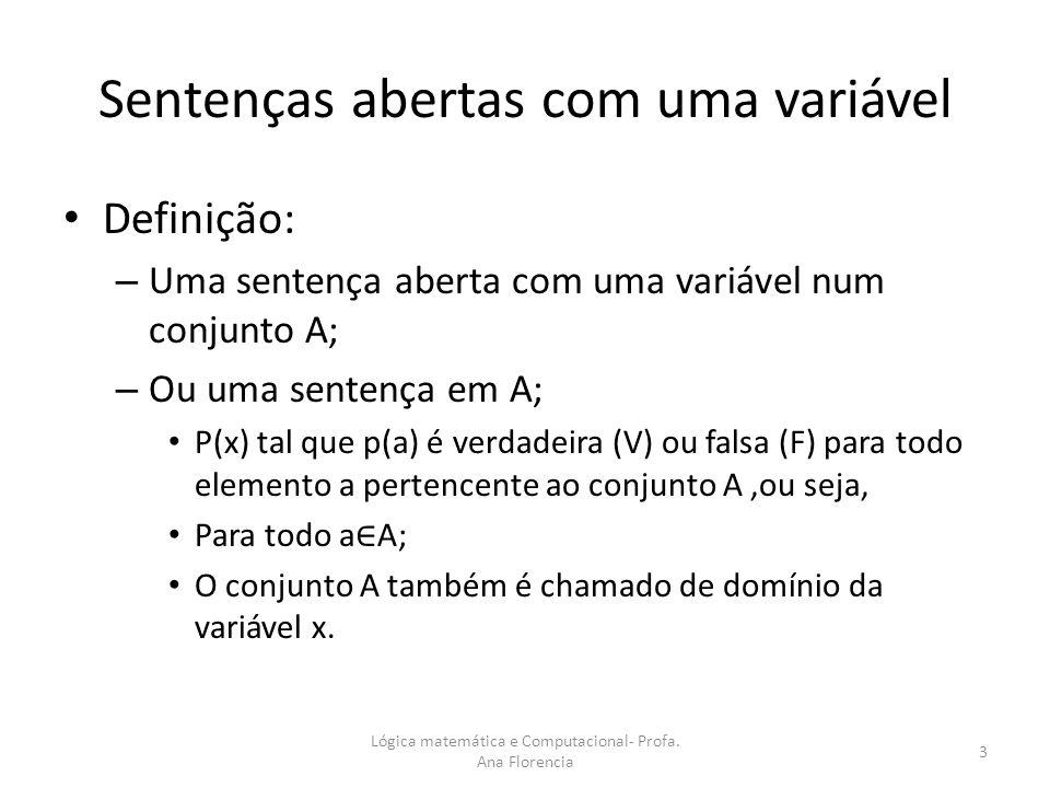 Sentenças abertas com uma variável Definição: – Uma sentença aberta com uma variável num conjunto A; – Ou uma sentença em A; P(x) tal que p(a) é verda