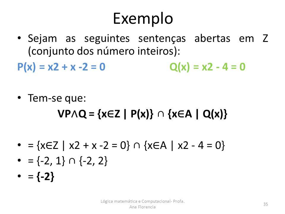 Exemplo Sejam as seguintes sentenças abertas em Z (conjunto dos número inteiros): P(x) = x2 + x -2 = 0 Q(x) = x2 - 4 = 0 Tem-se que: VP Q = {x Z | P(x