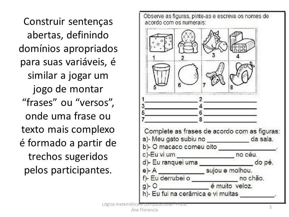 Construir sentenças abertas, definindo domínios apropriados para suas variáveis, é similar a jogar um jogo de montar frases ou versos, onde uma frase