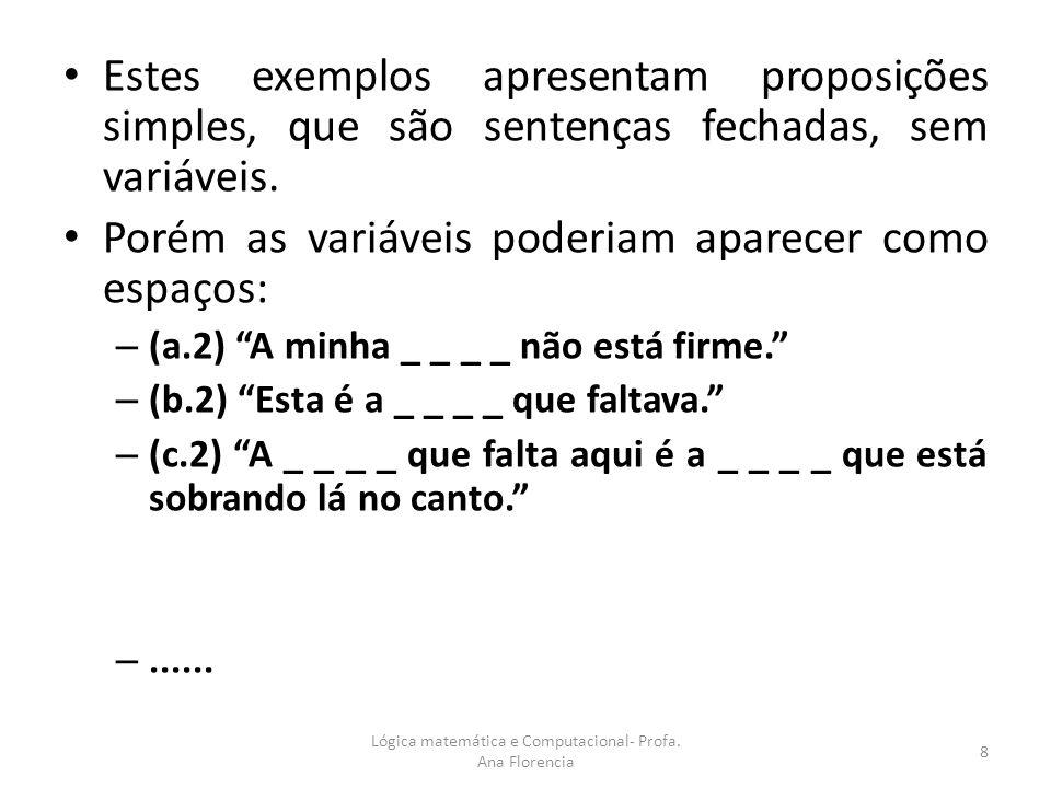Estes exemplos apresentam proposições simples, que são sentenças fechadas, sem variáveis. Porém as variáveis poderiam aparecer como espaços: – (a.2) A