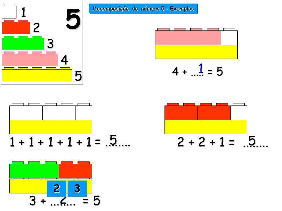 1 + 1 + 1 + 1 + 12 + 2 + 1 =........ 3 +........ = 5 2 =........ 5 5 1 2 3 4 5 5 4 +..... = 5 1 Decomposição do número 5 - Exemplos 2222 3333