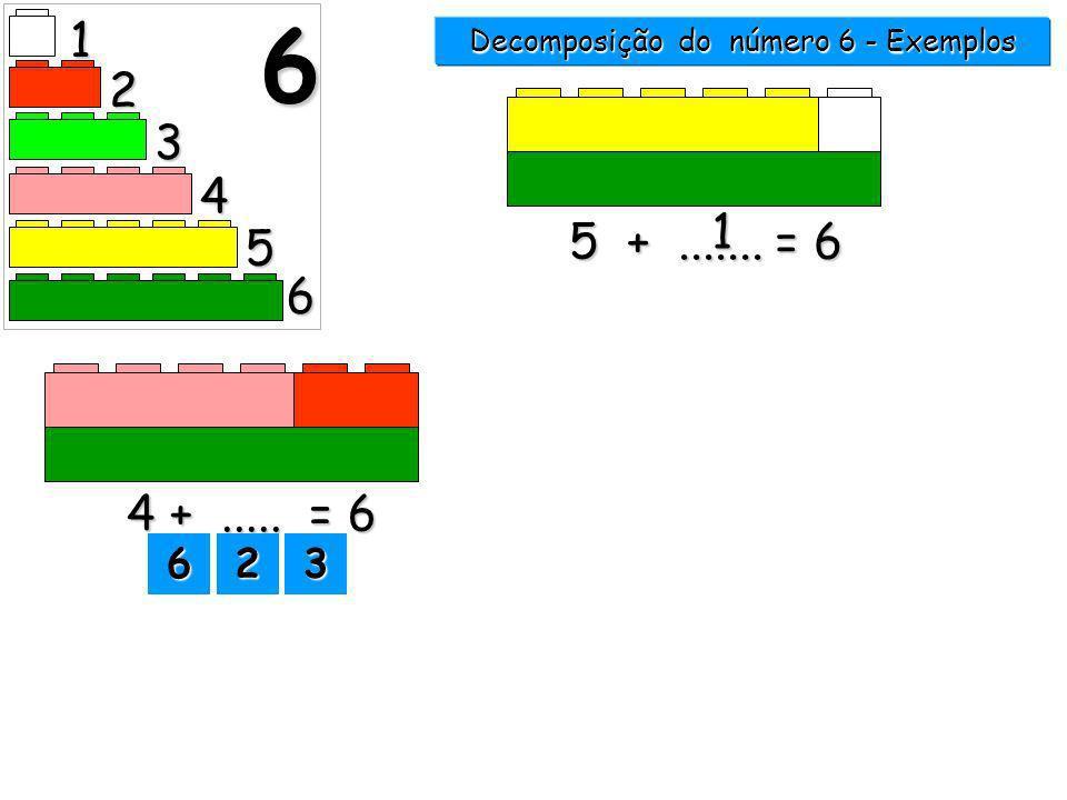 1 2 3 4 5 6 6 5 +....... = 6 1 Decomposição do número 6 - Exemplos 1111 2222 33336