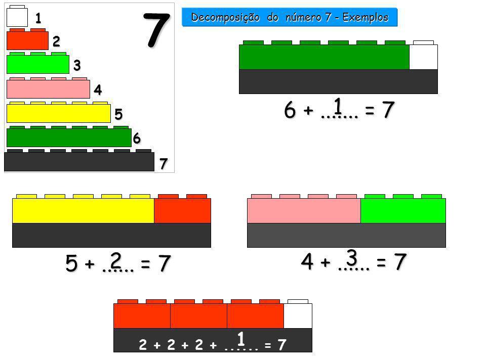 6 +....... = 7 1 5 +...... = 7 2 1 2 3 4 5 6 7 7 Decomposição do número 7 - Exemplos 4 +...... = 7 6666 4444 3333