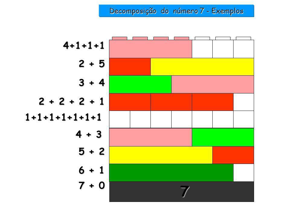 6 +....... = 7 1 5 +...... = 7 2 1 2 3 4 5 6 7 7 Decomposição do número 7 - Exemplos 4 +...... = 7 3 2 + 2 + 2 +...... = 7 1