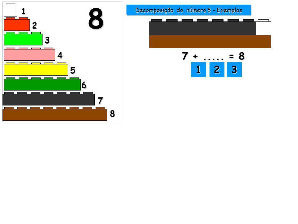 Decomposição do número 8 - Exemplos 1 2 3 4 5 6 7 8 8 1111 2222 3333