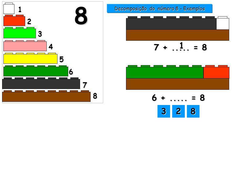 7 +..... = 8 1 Decomposição do número 8 - Exemplos 1 2 3 4 5 6 7 8 8 1111 2222 3333