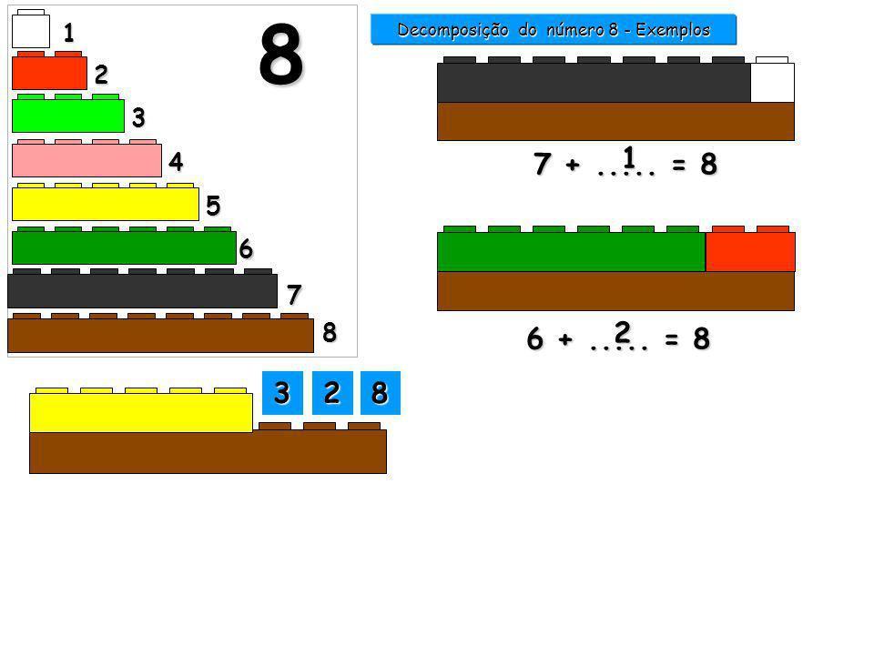 1 2 3 4 5 6 7 8 8 7 +..... = 8 1 6 +..... = 8 Decomposição do número 8 - Exemplos 3333 2222 8888