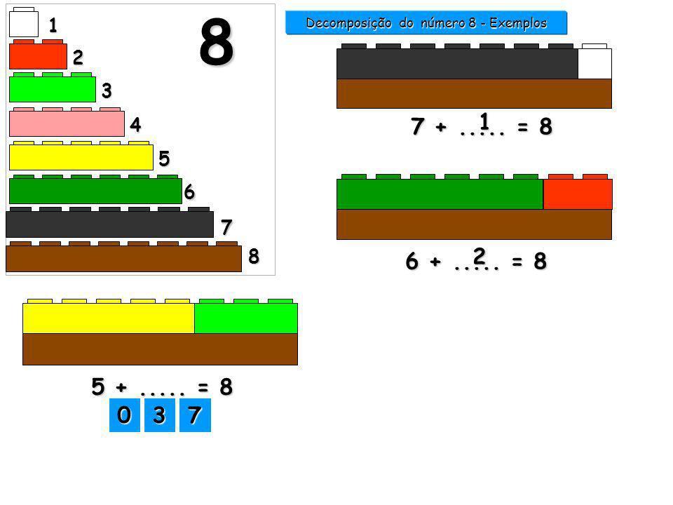 1 2 3 4 5 6 7 8 8 6 +..... = 8 2 7 +..... = 8 1 Decomposição do número 8 - Exemplos 3333 2222 8888