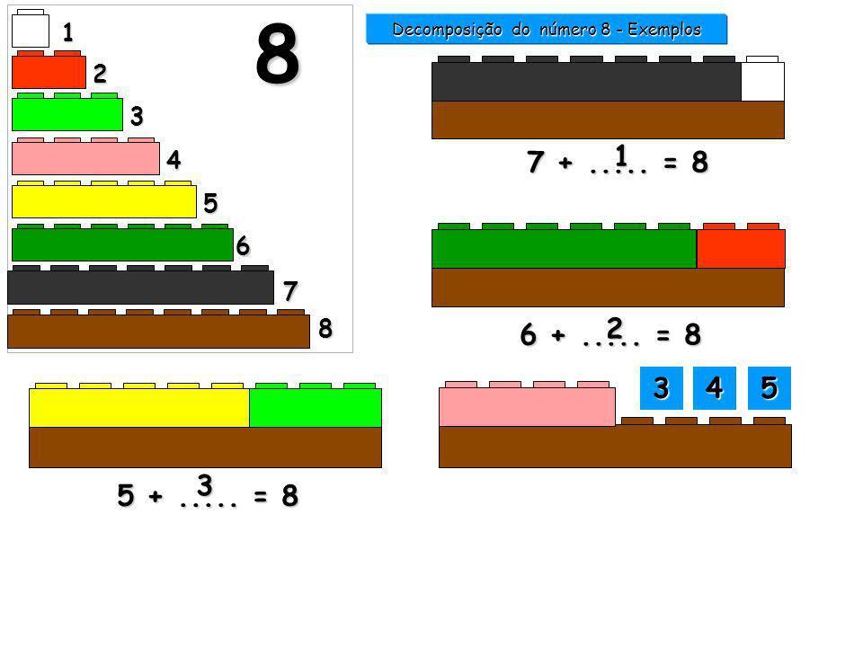 1 2 3 4 5 6 7 8 8 5 +..... = 8 6 +..... = 8 2 7 +..... = 8 1 Decomposição do número 8 - Exemplos 0000 7777 3333