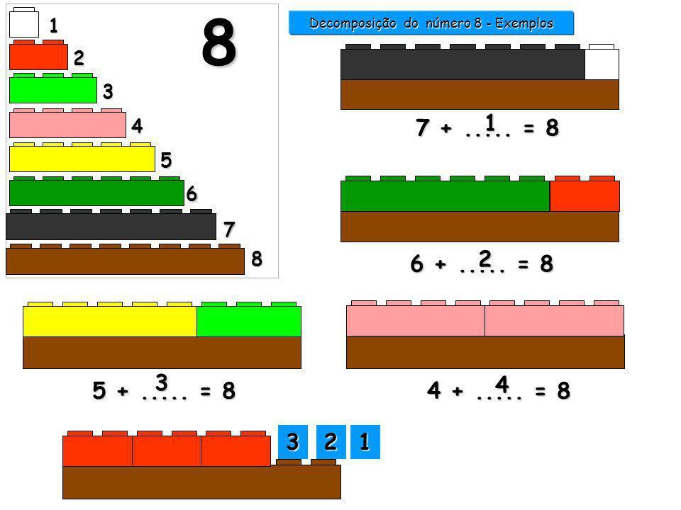 1 2 3 4 5 6 7 8 8 7 +..... = 8 1 Decomposição do número 8 - Exemplos 6 +..... = 8 2 5 +..... = 8 3 4 +..... = 8 3333 5555 4444